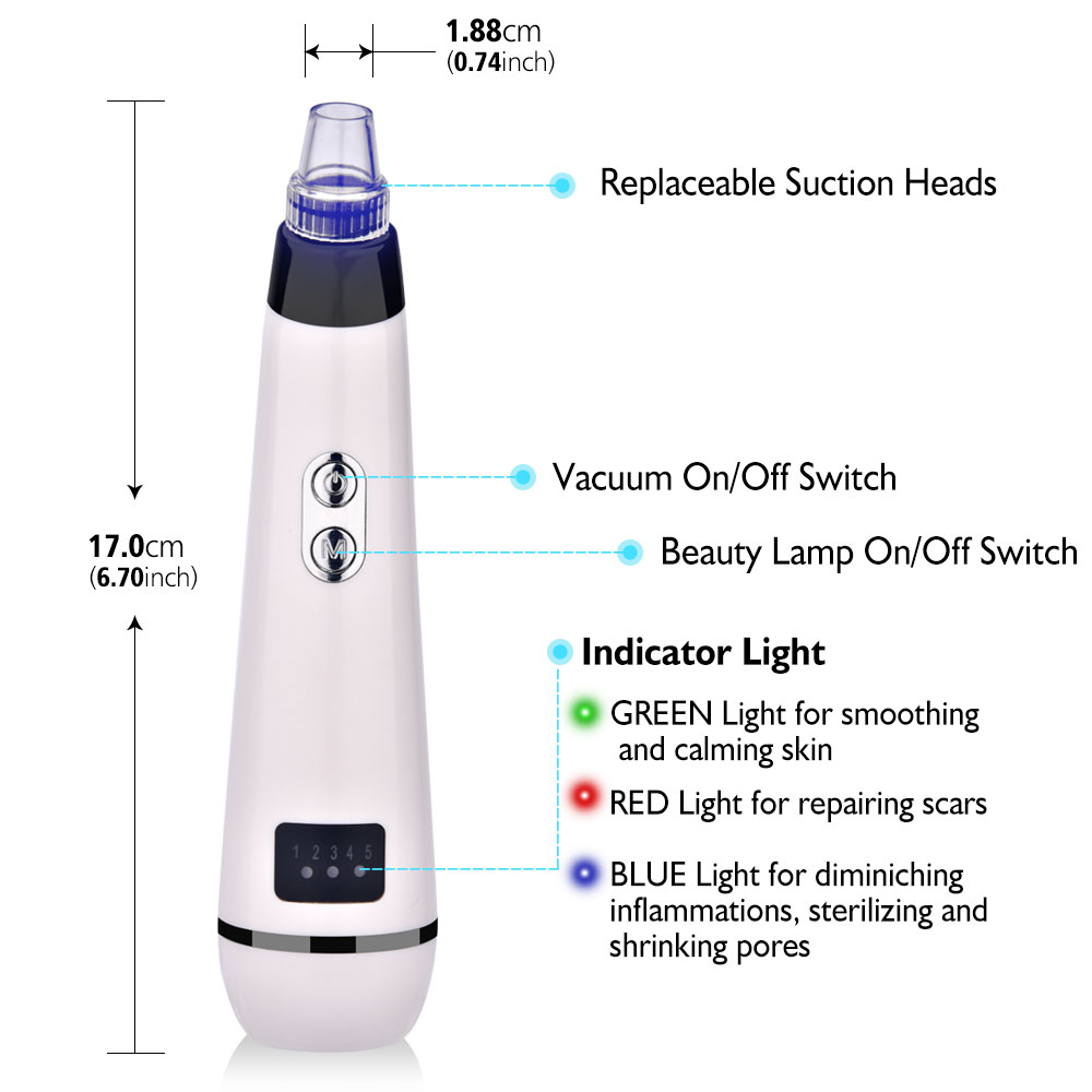 Blackhead Remover Face Deep Nose Cleaner T Zone Pore Acne Pimple Removal Vacuum Suction Facial Diamond Beauty Clean Skin Tool