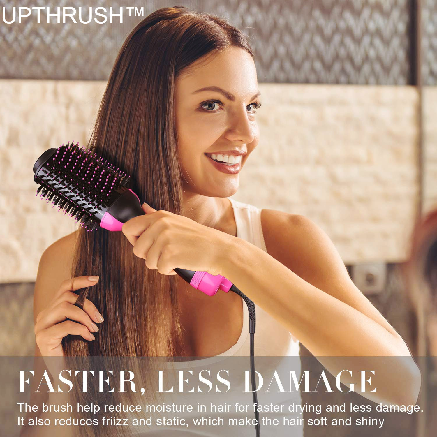 UPTHRUSH™ One Step Blow Dryer Brush Hair Dryer Brush And Volumizer Professional 3-in-1 Hair Dryer Hot Brush Blow Drier Hairbrush Styler