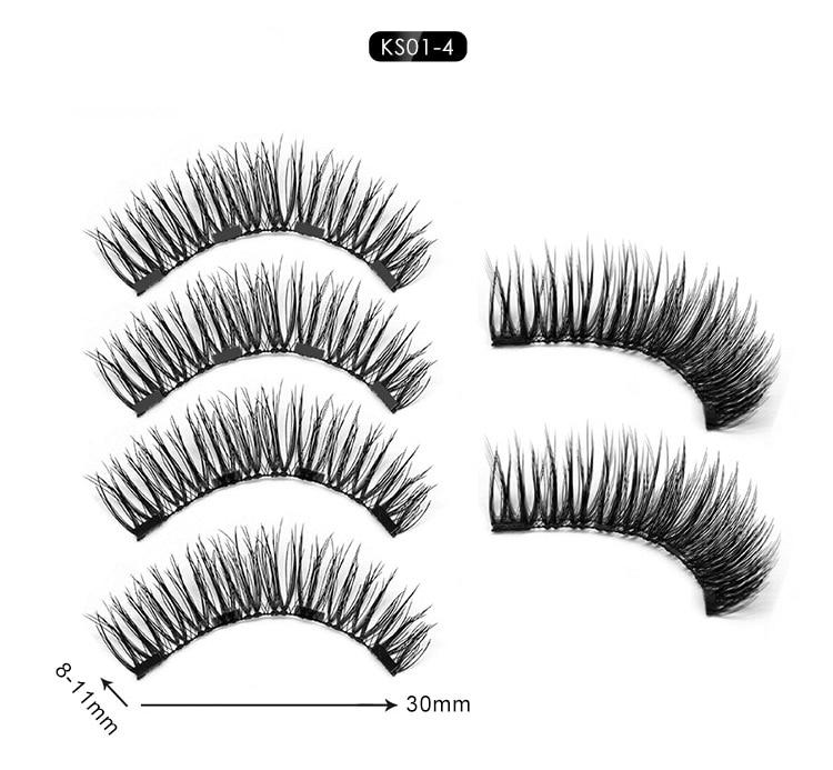 2 pairs of 3D magnetic eyelashes handmade Mink eyelashes eye makeup extended false eyelashes repeated use false eyelashes
