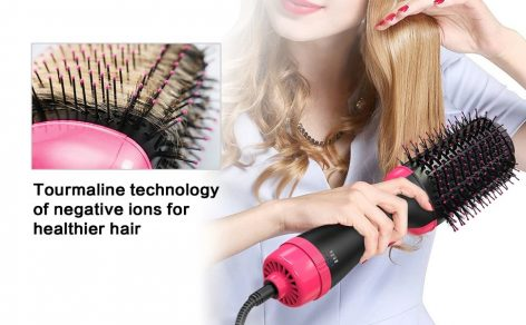 UPTHRUSH™ One Step Blow Dryer Brush Hair Dryer Brush And Volumizer Professional 3-in-1 Hair Dryer Oval Negative Ions Hot Brush Blow Drier Hairbrush Glow Styler