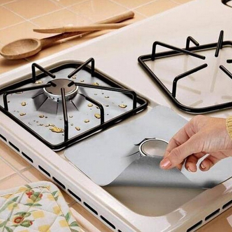 Hot Sale 4Pcs Reusable Foil Gas Hob Range Stovetop Burner Protector Liner Cover For Cleaning Kitchen Tools