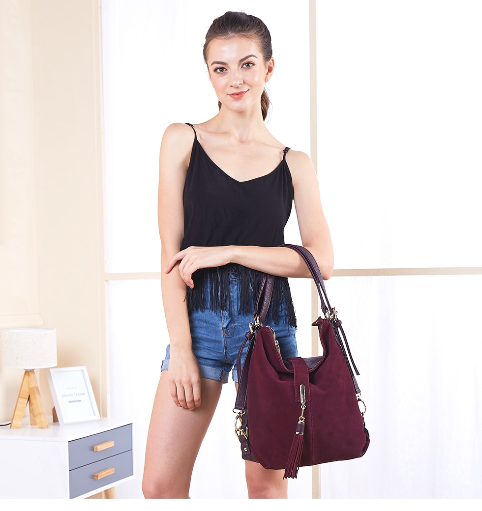 UPTHRUSH™ Women Leather Handbag Real Suede Casual Nubuck Convertible Shoulder Top-handle Handbag Purse