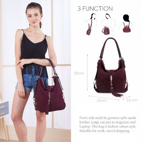 UPTHRUSH™ Women Leather Handbag Real Suede Casual Nubuck Convertible Shoulder Top-handle Hobo Messenger Handbag Purse