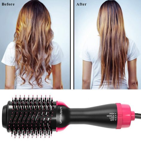 UPTHRUSH One Step Blow Dryer Brush Hair Dryer Brush Glow Styler Hot Air Brush And Volumizer Professional 3-in-1 Hair Dryer Blow Drier Hairbrush Glow Styler
