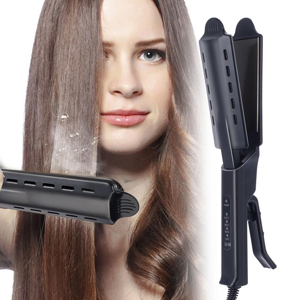 UPTHRUSH™ Hair Straightener Flat Iron Hair Curler Four-gear Temperature Adjustment Ceramic Tourmaline Flat Iron Women Hair Straightener Widen Panel Hair Curler